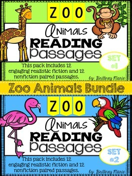 Nonfiction Reading Comprehension Passages-Zoo Animals Bundle