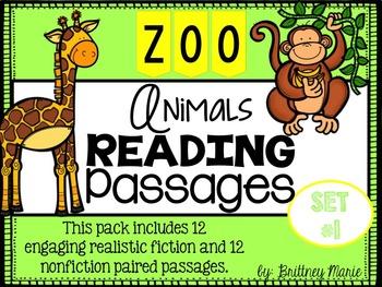 Zoo Animals Nonfiction Reading Comprehension Passages Set 1