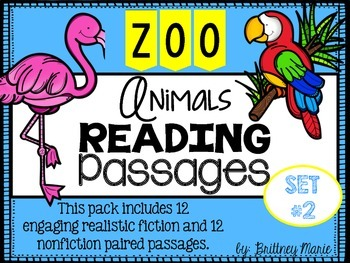 Zoo Animals Nonfiction Reading Comprehension Passages Set 2