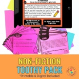 Nonfiction Reading Comprehension Toothy® Pack | Printable
