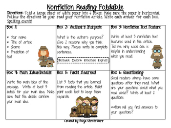 Nonfiction Reading Foldable