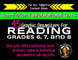 Nonfiction Reading Graphic Organizers Grades 6, 7, 8