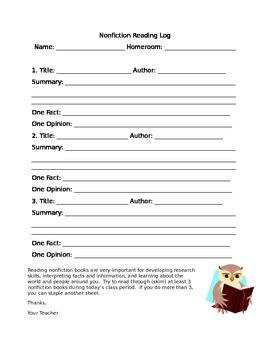 Nonfiction Reading Log
