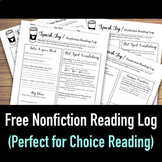 Nonfiction Reading Log for Choice Reading (with Text Feature & Organization Q's)