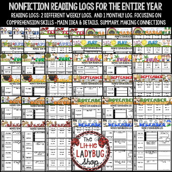Independent Nonfiction Reading Logs for Homework & Literacy Centers