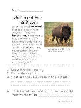 Nonfiction Reading and Glossary Practice