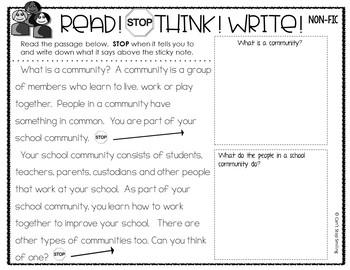 Nonfiction Reading Passages 1st grade ~ Communities Reading Passages ...