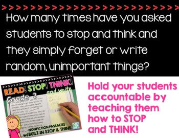 Nonfiction Reading Passages 3rd Grade ~ Stop and Think ~ 3rd Grade Passages