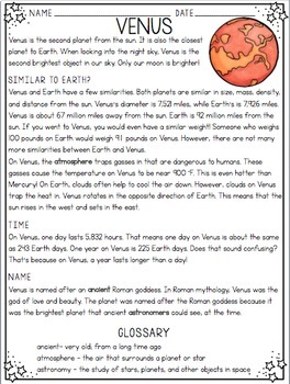 Nonfiction Reading Passages with Glossaries - All About Planets