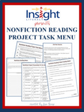 Nonfiction Reading Project w/a Task Menu & Tic Tac Toe Project Board