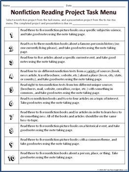 Nonfiction Reading Project w/a Task Menu & Tic Tac Toe Project Board