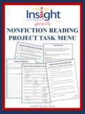 Nonfiction Reading Project w/a Task Menu & Tic Tac Toe Pro