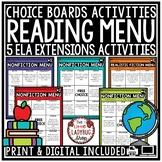 Nonfiction Choice Board Activities &  Nonfiction Reading Response Choice Boards