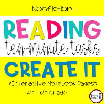 Nonfiction Reading Response - Create It  {10 Minute Tasks}