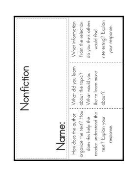 Nonfiction Reading Response Interactive Notebooks