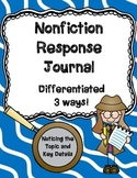Nonfiction Reading Response Journal