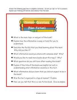 Non-fiction Reading Response Questions