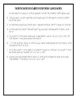Nonfiction Reading Response Questions