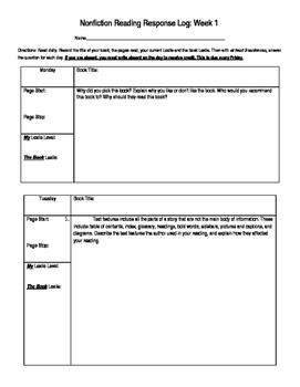 Nonfiction Reading Response Reading Log