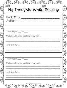 Nonfiction Reading Response Sheets
