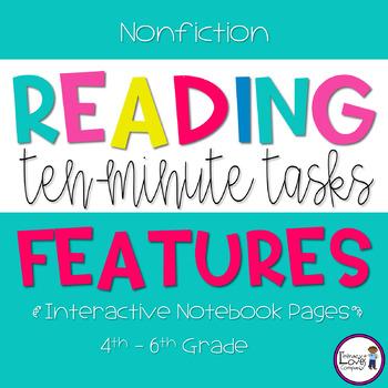 Nonfiction Reading Response -Text Features  {10 Minute Tasks}