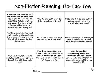 Independent Reading Tic Tac Toe Worksheets & Teaching
