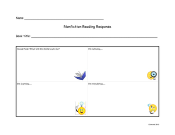 Nonfiction Reading Response to use with Lucy Calkins Units of Study