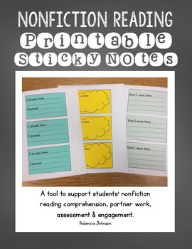 Nonfiction Reading Sticky Notes