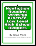 Nonfiction Reading Strategy Practice Worksheet for Low Level High School Readers