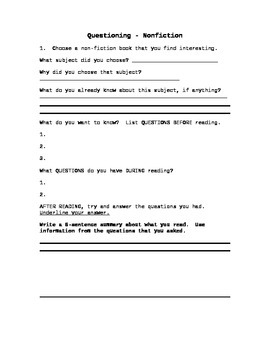 Nonfiction Reading Strategy - Questioning