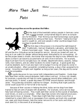 Nonfiction Reading Test for Fourth Grade