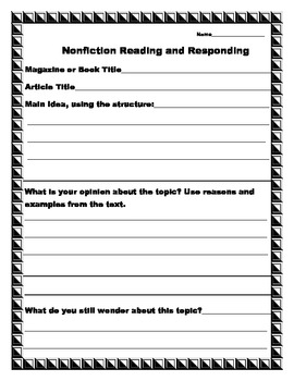Nonfiction Reading and Responding