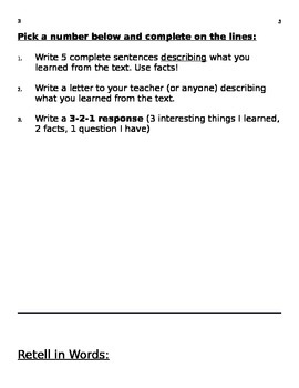 Nonfiction Reading response sheets