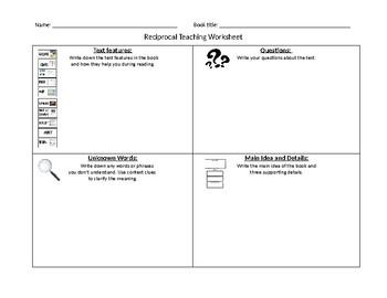 Nonfiction Reciprocal Teaching Worksheet