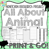 Nonfiction Research Project - All About an Animal - Print & Go - CC Aligned