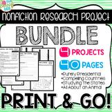 Nonfiction Research Projects BUNDLE - Print & Go - CC Aligned