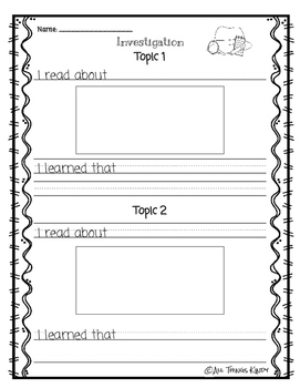 Nonfiction Research Recording Sheets