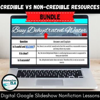Nonfiction Resource: Credible vs Non-Credible