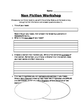 Nonfiction Response Form