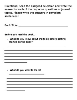 Nonfiction Response Journal