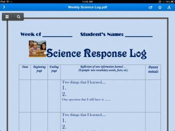 Nonfiction Response Log (Homework)