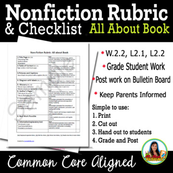 Nonfiction Rubric Second Grade (Lucy Calkins Reading Workshop CCSS Assessment)