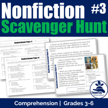 Nonfiction Scavenger Hunt 3 - Comprehension Skills