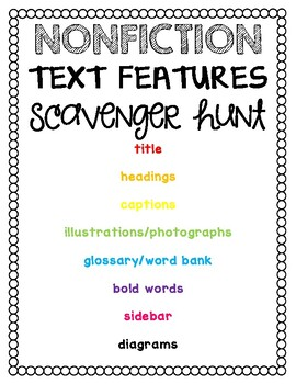 Nonfiction Scavenger Hunt to be used with ANY nonfiction text