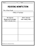 Nonfiction: Schema & What I Learned Graphic Organizer