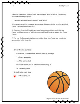 Writing Process : Nonfiction Sports Story and Writing Prompt