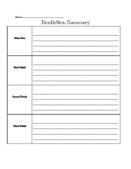 Nonfiction Summarizing Graphic Organizer