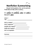 Nonfiction Summarizing Practice Sheet