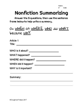 Nonfiction Summarizing Practice Sheet