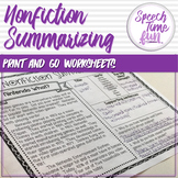 Nonfiction Summarizing Worksheets (Print and Go)